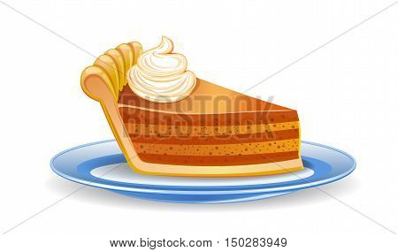 Pumpkin pie slice. Piece of pie on a plate. Vector illustration isolated on white background