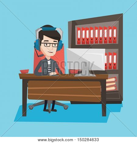 Young caucasian man using computer for playing games. Gamer in headphones playing online games. Businessman working on a computer in the office. Vector flat design illustration. Square layout.