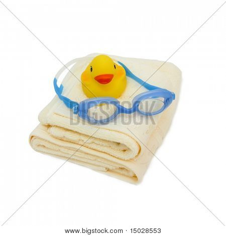 Rubber ducky with goggles and towels