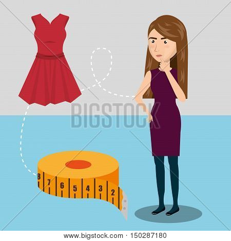 avatar woman thinking with sewing and garments icons. colorful design. vector illustration