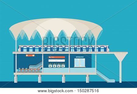 Sky train station with ticket vending machines Railway Map Entrance of railway station platform business travel transportation vector illustration.