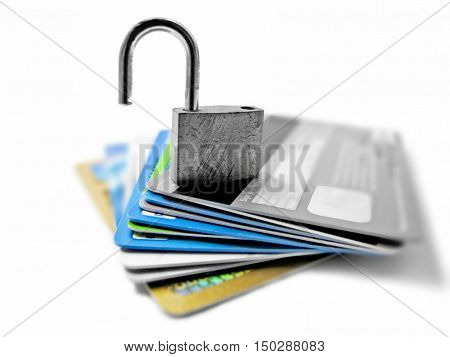 Hacked and vulnerable not safe not secured identity and financial theft concept