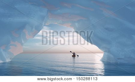 Paddle man in a small boat to the bow of an iceberg. This is a 3d render illustration
