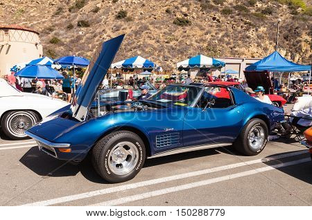 Laguna Beach, CA, USA - October 2, 2016: Blue 1970 Chevrolet corvette owned by Dennis Steadman and displayed at the Rotary Club of Laguna Beach 2016 Classic Car Show. Editorial use.