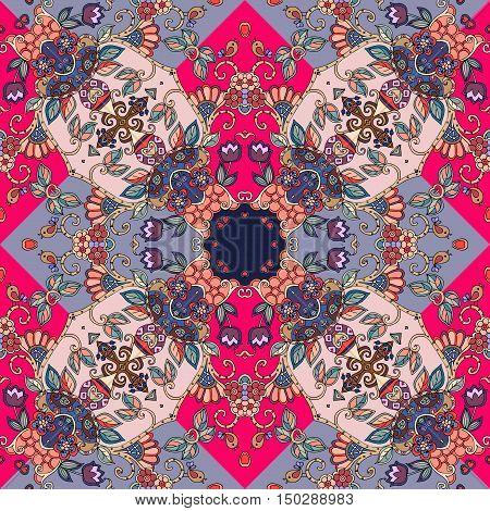Decorative floral ornament. Creative bandana print or kerchief design. Lovely tablecloth. Vector illustration.