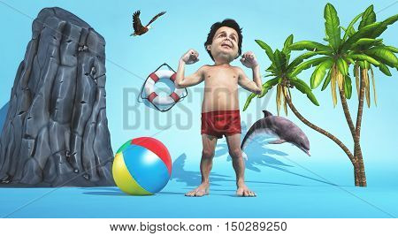 Man stretching in a tropical beach enviroment . This is a 3d render illustration
