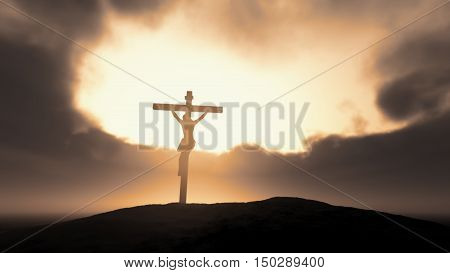 Silhouette of Jesus with Cross over a stormy sky. This is a 3d render illustration