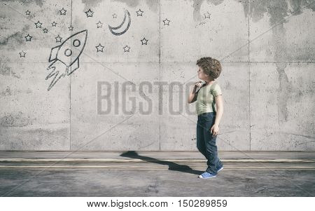 Curious kid looks to a rocket in space painted on wall. This is a 3d render illustration