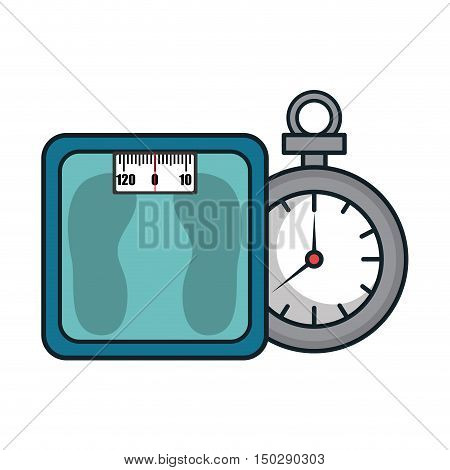 metal scale weight device and chronometer time device. vector illustration