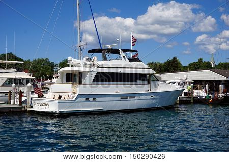 HARBOR SPRINGS, MICHIGAN / UNITED STATES - AUGUST 1, 2016:  A yacht christened