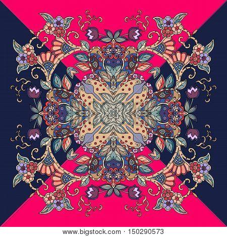 Decorative floral ornament with triangles. Bandana print or kerchief square pattern design. Vector illustration.