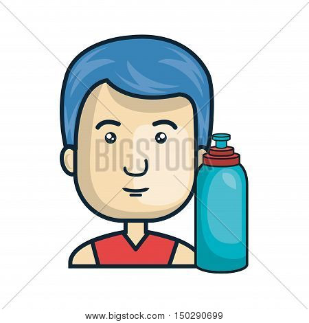 avatar man cartoon with water bootle. colorful design. vector illustration