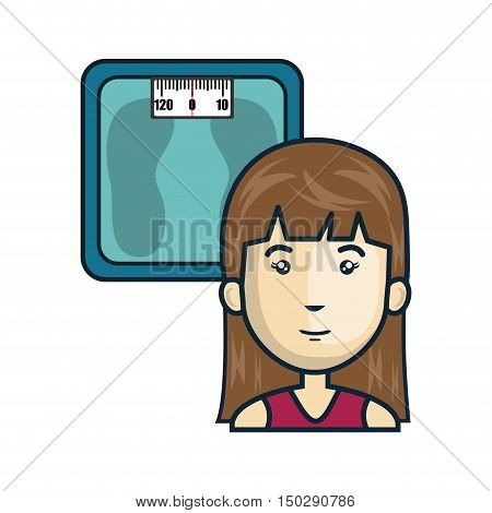 metal scale weight device and avatar woman smiling. vector illustration