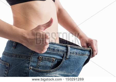 Diet woman Slimming waist of young woman.