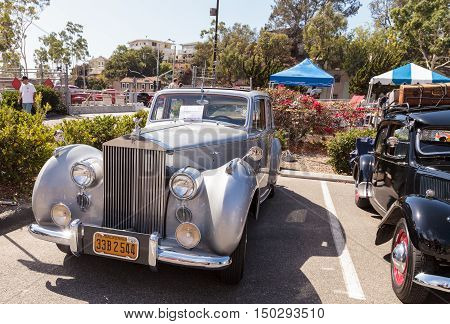 Laguna Beach, CA, USA - October 2, 2016: White 1949 Rolls Royce Silver Dawn Sedan owned by Rod Hatter and displayed at the Rotary Club of Laguna Beach 2016 Classic Car Show. Editorial use.