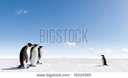 Emperor Penguins meeting Adelie Penguin in Antarctica