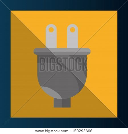electric plug adapter device over yellow frame background. vector illustration