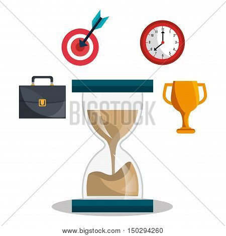 sandclock with business and time management icon set. colorful design. vector illustration