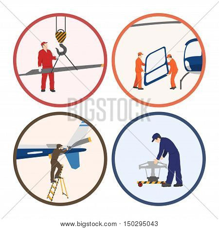 Repair and maintenance of helicopter. Set of helicopter parts in flat style on white background. Vector illustration