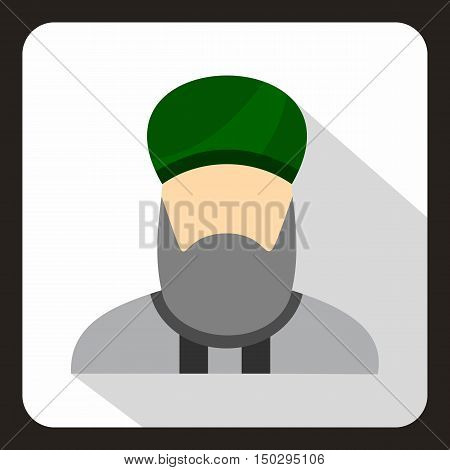 Muslim man with beard in green turban icon in flat style on a white background vector illustration