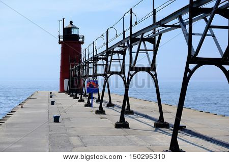 South Haven Lighthouse, built in 1903, Lake Michigan, MI, USA