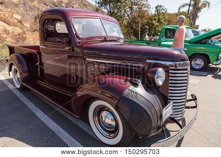 Laguna Beach, CA, USA - October 2, 2016: Maroon 1954 Chevrolet Truck displayed at the Rotary Club of Laguna Beach 2016 Classic Car Show. Editorial use.