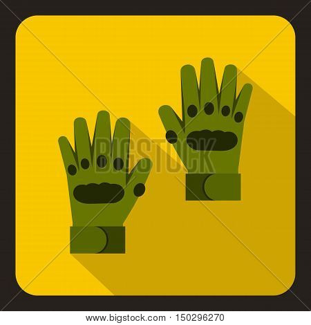 Pair of green paintball gloves icon in flat style on a yelllow background vector illustration