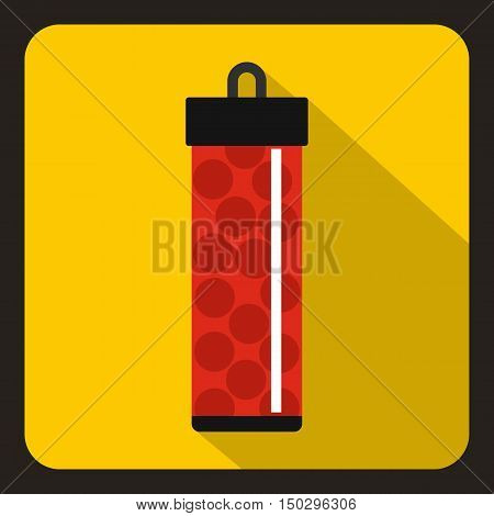 Red pack with paintball bullets icon in flat style on a yelllow background vector illustration