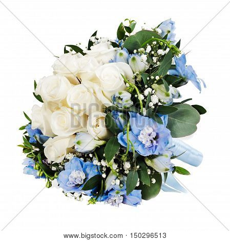 Colorful floral bouquet from white roses and delphinium flowers isolated on white background.