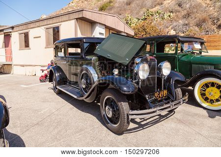 Laguna Beach, CA, USA - October 2, 2016: Green and black 1931 Nash 887 Sedan owned by Gary Marchetti and displayed at the Rotary Club of Laguna Beach 2016 Classic Car Show. Editorial use.