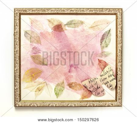 An abstract painting with pink brushstrokes, in a golden frame, with skeleton leaves and a cutout paper butterfly. A festive texture with copyspace