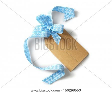 Silk ribbon and congratulatory card isolated on white