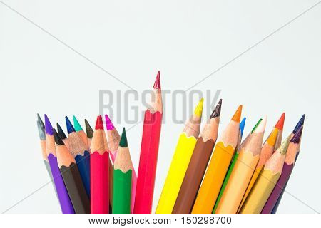 color pencil on white background / outstanding character concept / Individuality concept / pencils concept / focus pencil red