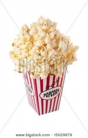 Overflowing box full with popcorn isolated on white. Box was designed and build by myself.