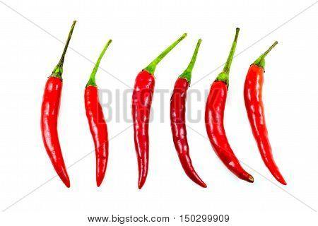 Red chilli peppers isolate on white background