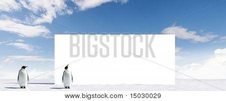 Billboard with two penguins in Antarctica