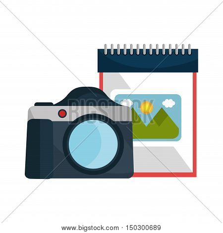 photographic camera device with notepad with picture icon. vector illustration