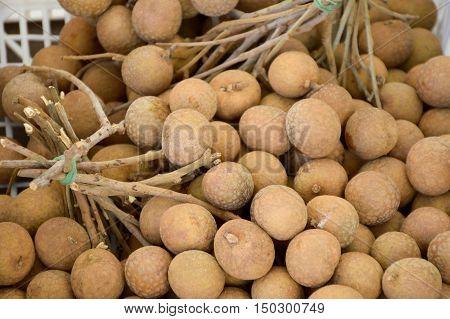 close up fresh Longan in fruit market