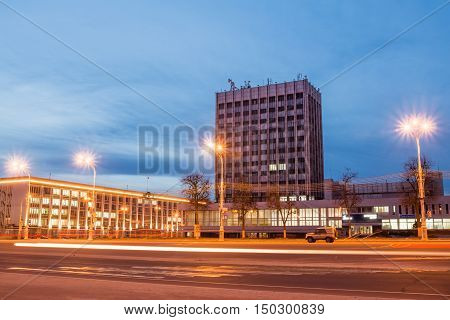 Gomel Belarus - February 18 2016: View of the city at night in the illumination from the Lenin Square in the Gomel Region Executive Committee.