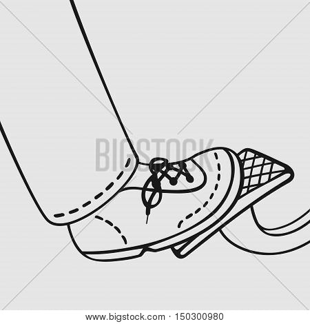 The foot on the gas pedal vector illustration