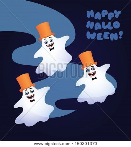 Vector cartoon illustration of three white ghosts with black bow ties and yellow top hats dancing. Greeting text