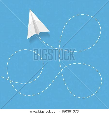 Flying paper airplane with dashed line. vector eps10 illustration