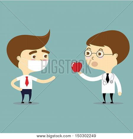 doctor suggest to patient to eat red apple for healthy vector