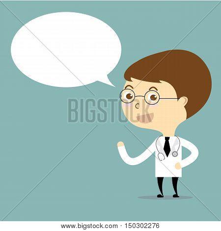 doctor with speech bubble cartoon vector cute
