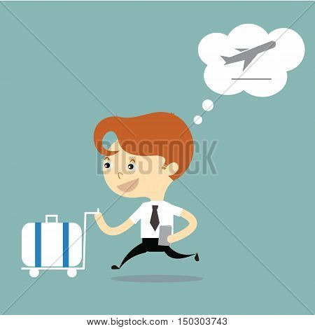 businessman holding ticket and push luggage to check in airport vector