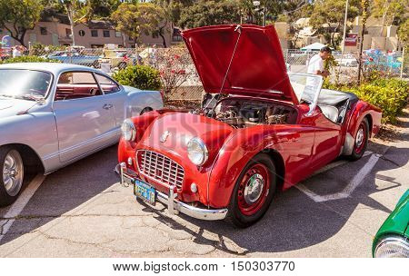 Red, Chevrolet, Bel Air, 1957, Len Yerkes, classic car, car, automobile, antique, classic, Rotary Club, classic Car Show, Laguna Beach, California