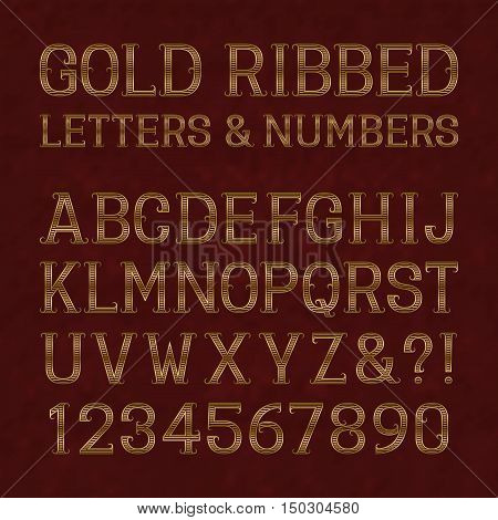 Golden ribbed letters and numbers with flourishes on red marble surface. Horizontal stripes vintage font. Isolated latin alphabet with figures.