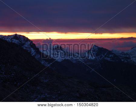 Romantic Sunrise Above An Alpine Mountan Landscape