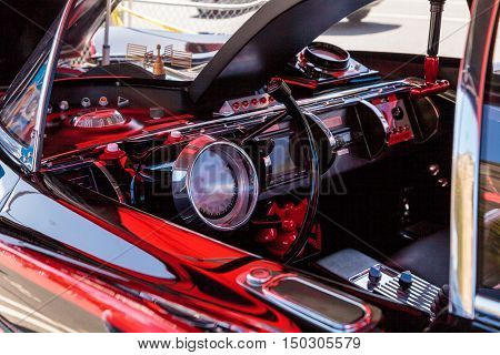 Laguna Beach, CA, USA - October 2, 2016: Black and red 1966 Batmobile displayed at the Rotary Club of Laguna Beach 2016 Classic Car Show. Editorial use.