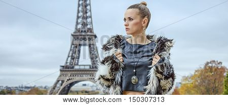 Fashion-monger In Front Of Eiffel Tower In Paris Looking Aside